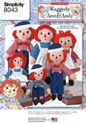 8043 Simplicity Pattern: Raggedy Ann and Andy Dolls